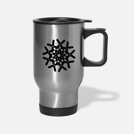 Line Mugs & Drinkware - Geometric Design - Travel Mug silver