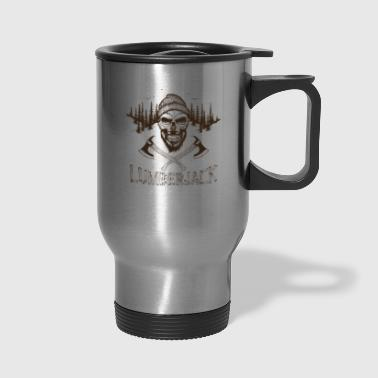 T Shirt lumberjack skull ax vector image cartoon - Travel Mug