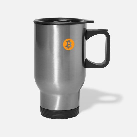 Moon Mugs & Drinkware - Bitcoin To The Moon Rocket Space Shuttle HODL Pun - Travel Mug silver