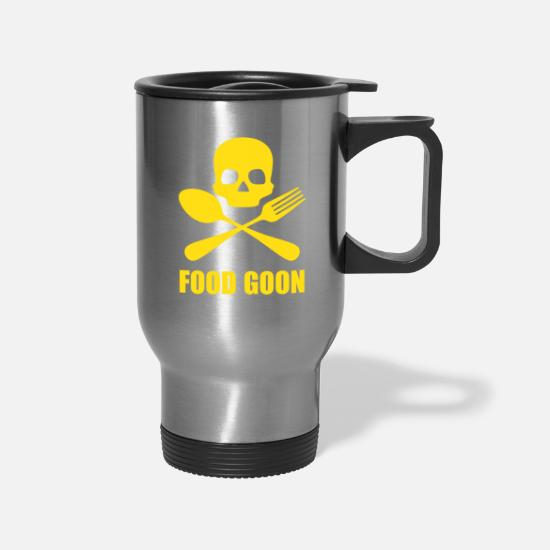 Pirate Flag Mugs & Drinkware - Jolly Food Goon | Mustard - Travel Mug silver