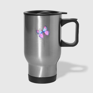 butterfly blue pink watercolor - Travel Mug
