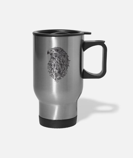 Feathers Mugs & Cups - EAGLE Pure Spirit - Travel Mug silver