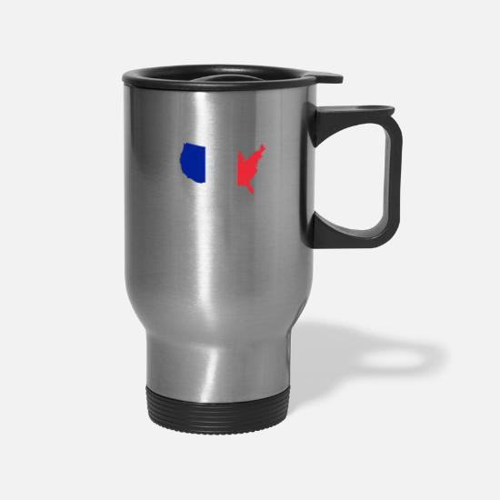 Patriot Mugs & Drinkware - USA Map with France Flag French American Pride - Travel Mug silver