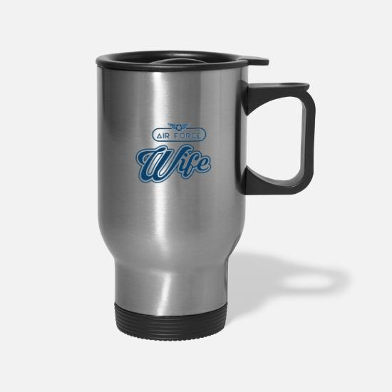 Pilot Mugs & Drinkware - Air Force Wife Shirt - Women - Travel Mug silver