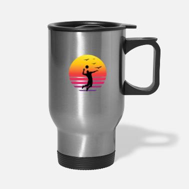 Beach Volleyball Volleyball Retro sunset beach - Travel Mug