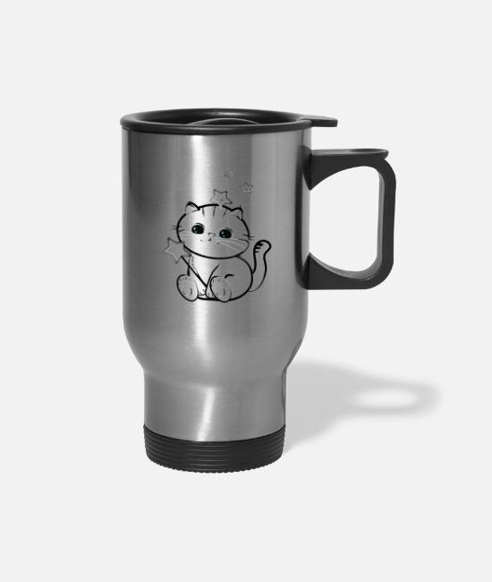 Black And Withe Mugs & Cups - lucky chibi cat - Travel Mug silver