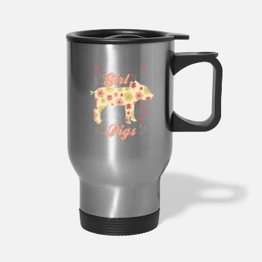 Hog Pig Piggy Hog Floral Hippie Flowers Gift - Travel Mug
