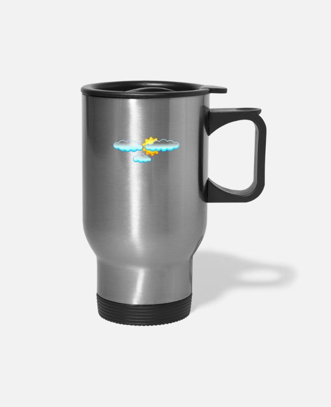 Weather Mugs & Cups - Weather Cirrus About Weather Meteorology - Travel Mug silver