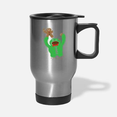 Fall Zombie Eating A Gingerbread Man Christmas Fun Gift - Travel Mug