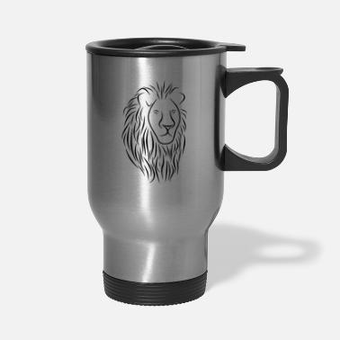 Lovely Cat &amp Lion Face Head Portrait - King Of The Jungle - Travel Mug