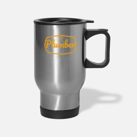 Plumber Mugs & Drinkware - Plumber Sanitary Heating Plumber Gift - Travel Mug silver