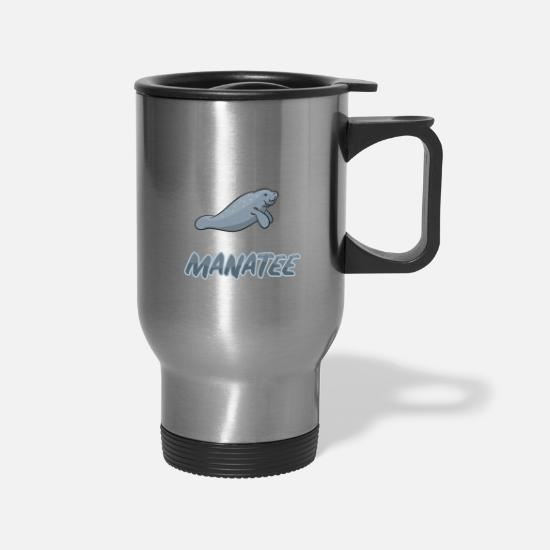 Manatee Mugs & Drinkware - manatee sea lion walrus sea creatures mermaid - Travel Mug silver