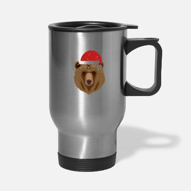 Merry Christmas Bear in Santa Hat - Travel Mug
