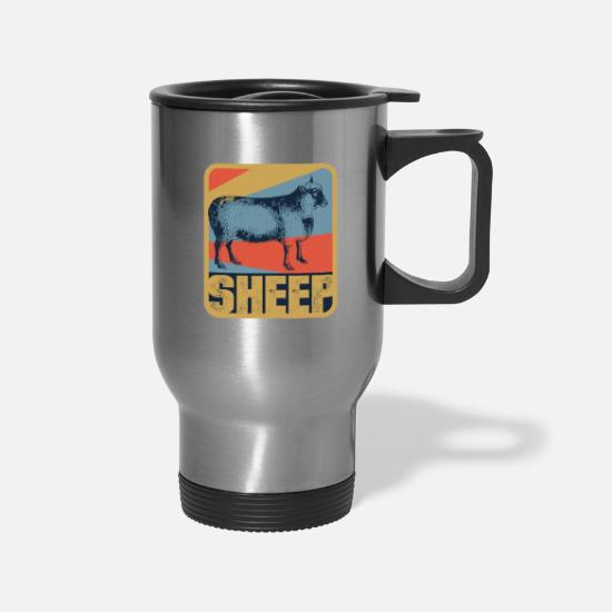 Wild Mugs & Drinkware - Sheep herd farm stall animal gift - Travel Mug silver