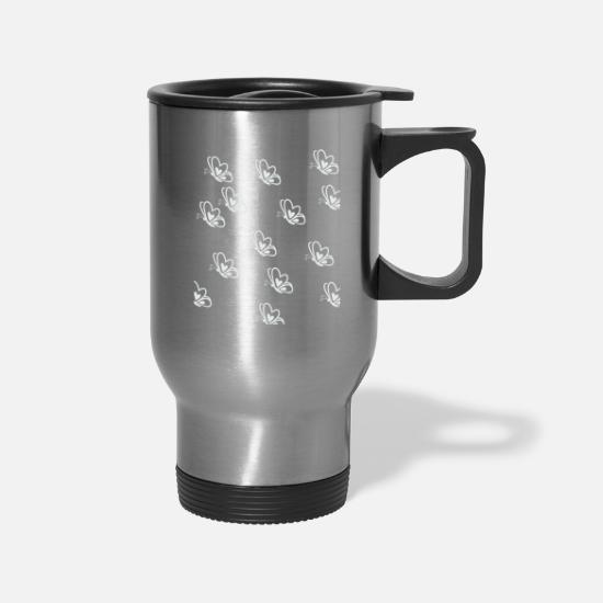 Gift Idea Mugs & Drinkware - Schmetterlingsschwarm White - Travel Mug silver