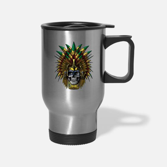 Aztec Mugs & Drinkware - Aztec Skull Warrior Mask Native Mexican - Travel Mug silver