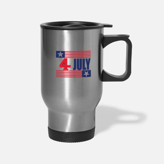 Birthday Mugs & Drinkware - 4 th july transeprent 01 - Travel Mug silver