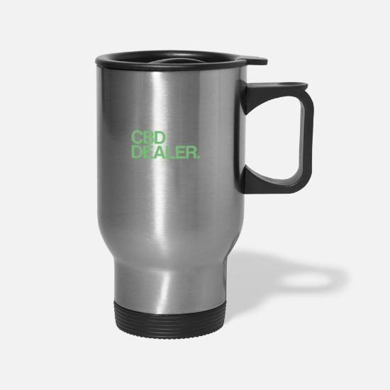 Hemp Mugs & Drinkware - Dad Husband CBD Dealer | Cannabidiol Oil, CBD Oil - Travel Mug silver