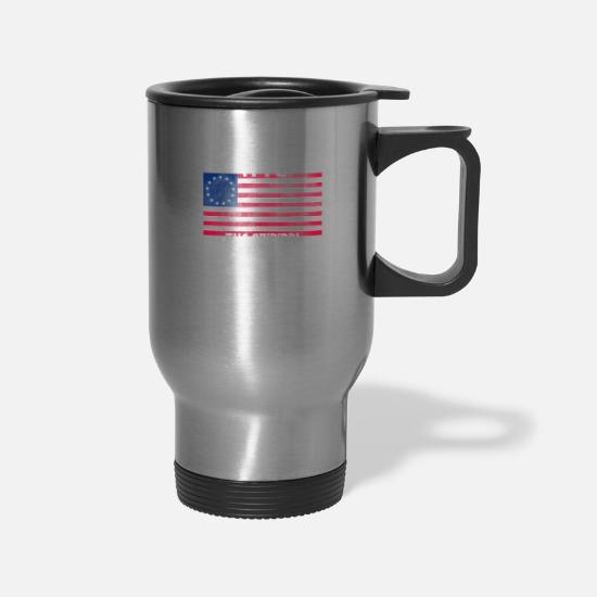 Brexit Mugs & Drinkware - Betsy Ross Original Brexit 1776 American Flag - Travel Mug silver