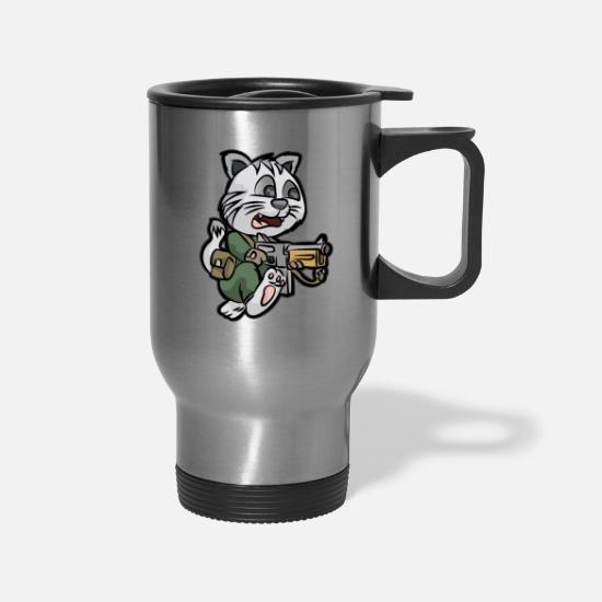 Reserve Mugs & Drinkware - MILITARY CAT TOMMY GUN Soldier - Travel Mug silver