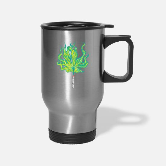 Stoner Mugs & Drinkware - Marijuana Smoker Joint Weed Cigarette Smoke - Travel Mug silver