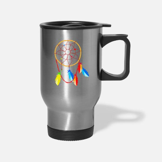 American Mugs & Drinkware - American Indian Dreamcatcher Native American - Travel Mug silver