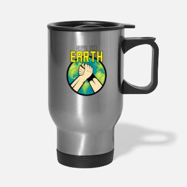 Hands Holding The Earth Save The Earth|make Peace And Love|lock Two Hands - Travel Mug