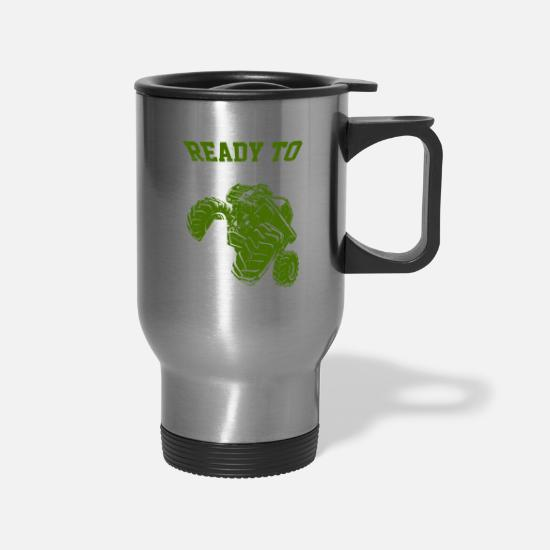 Celebration Mugs & Drinkware - Kids 4th Birthday Crush Monster Truck Four Wheeler - Travel Mug silver