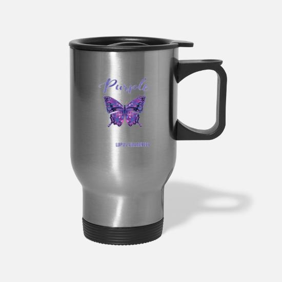 Awareness Mugs & Drinkware - Butterfly Lupus Sister Lupus Awareness Purple - Travel Mug silver