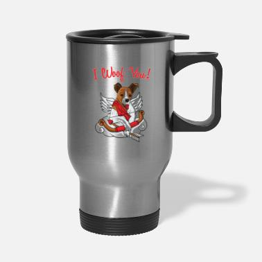I Love Dogs Jack Russell Terrier I Woof You Dog Valentines Day - Travel Mug