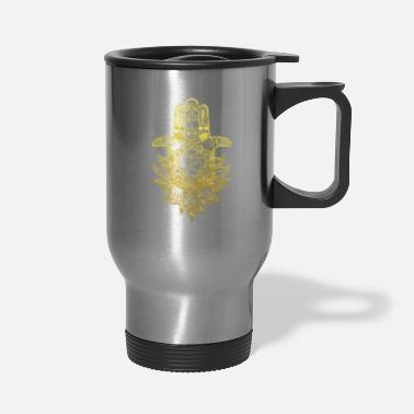 Buddhism Hamsa Hand Mandala with Om sign in gold design - Travel Mug