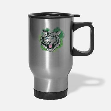 White Tiger Scary White Tiger Graphic Tiger Face - Travel Mug