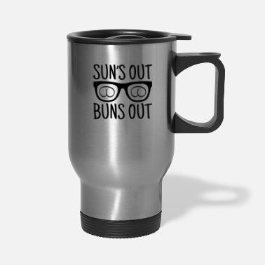 Heat Suns Out Buns Out Summer Good Vibes Bbq Party Gift - Travel Mug
