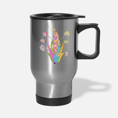 Piece colorful corncob and colorful popcorn - Travel Mug