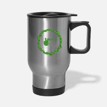 Healthy Vegan Peace Inside Ring Of Leaves - Travel Mug