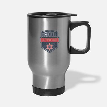 Grey Stupid People Corrections Officer Thin Silver Line - Travel Mug