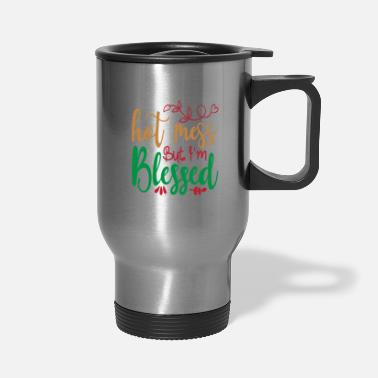 Pattern Hot Mess But I'm Blessed - Christmas - Travel Mug