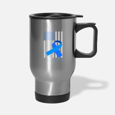 Usa ALS Awareness His Fight Is My Fight Blue Ribbon - Travel Mug
