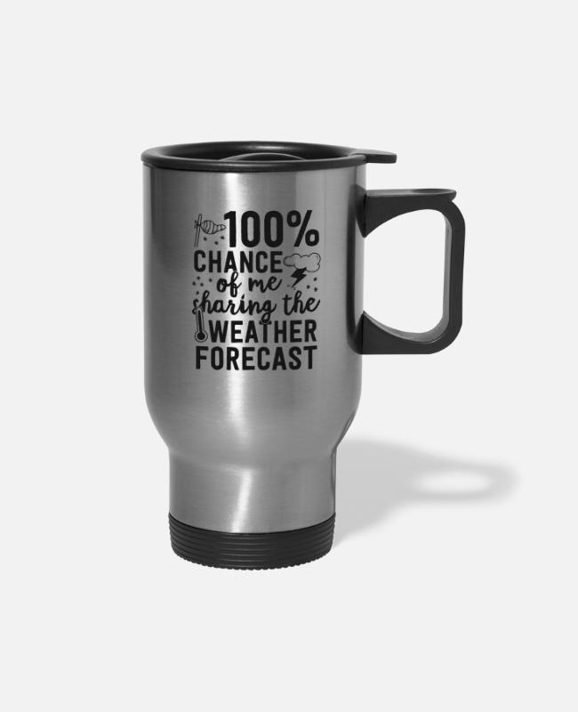 Weatherman Mugs & Cups - Funny Meteorologist Gifts Meteorology Shirt - Travel Mug silver