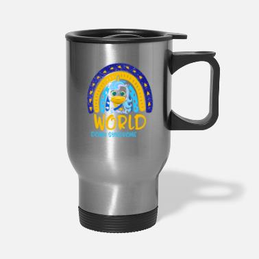 Yellow World Down Syndrome Day Awareness Shirt Lover - Travel Mug