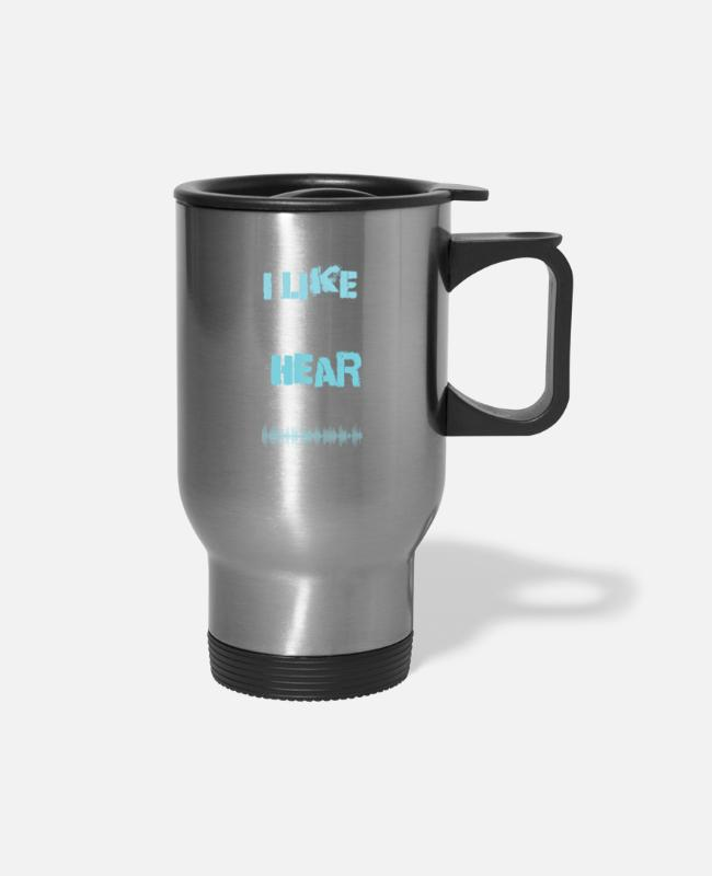 Drummer Mugs & Cups - Music Lover Like My Music So Loud Can't Hear My - Travel Mug silver