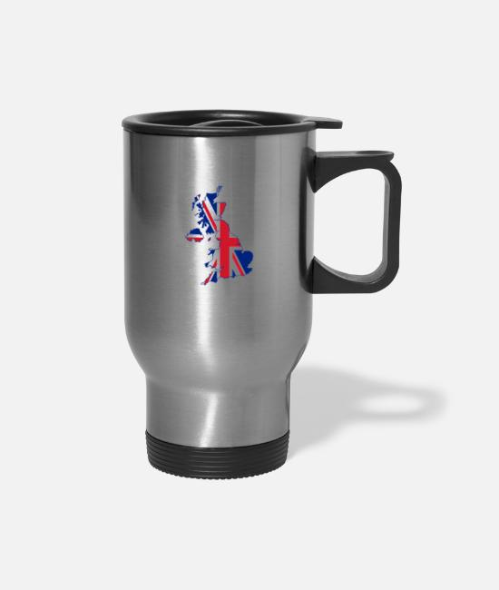 Nottingham Mugs & Cups - Uk Flag Home - Travel Mug silver