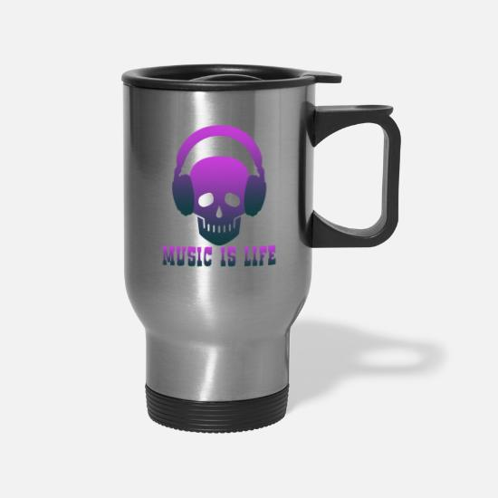 Life Force Mugs & Drinkware - Music is Life music,musical instrument,music club - Travel Mug silver