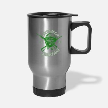 Ape Gorilla Warfare Helmet Illustration - Travel Mug