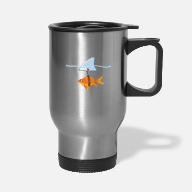 Fin Brave, cute goldfish with shark fin, giftidea - Travel Mug