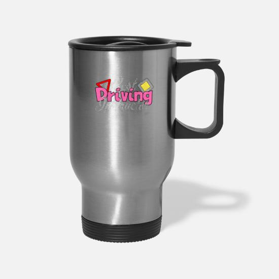 Instructor Mugs & Drinkware - cool driving instructor driving school driving ins - Travel Mug silver