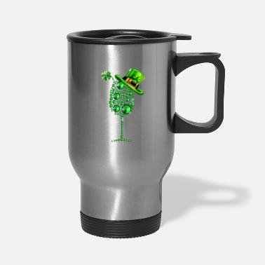 Shamrock Wine Glass Top Hat St Patrick s day - Travel Mug