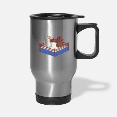 Boxing Ring Dog and cat in the boxing ring - Travel Mug