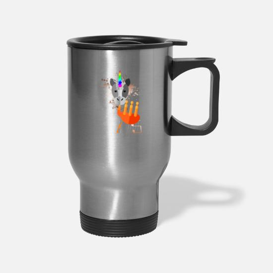 Magic Mugs & Drinkware - Cute Unicorn Plays Bagpipes Magical Fable Animal - Travel Mug silver