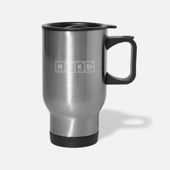Hacker Mugs & Drinkware - hacker computer hack hacking freak geek nerd gift - Travel Mug silver